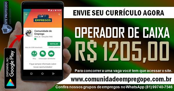 OPERADOR DE CAIXA COM SALÁRIO R$ 1205,00 PARA EMPRESA DE BOMBA D'ÁGUA