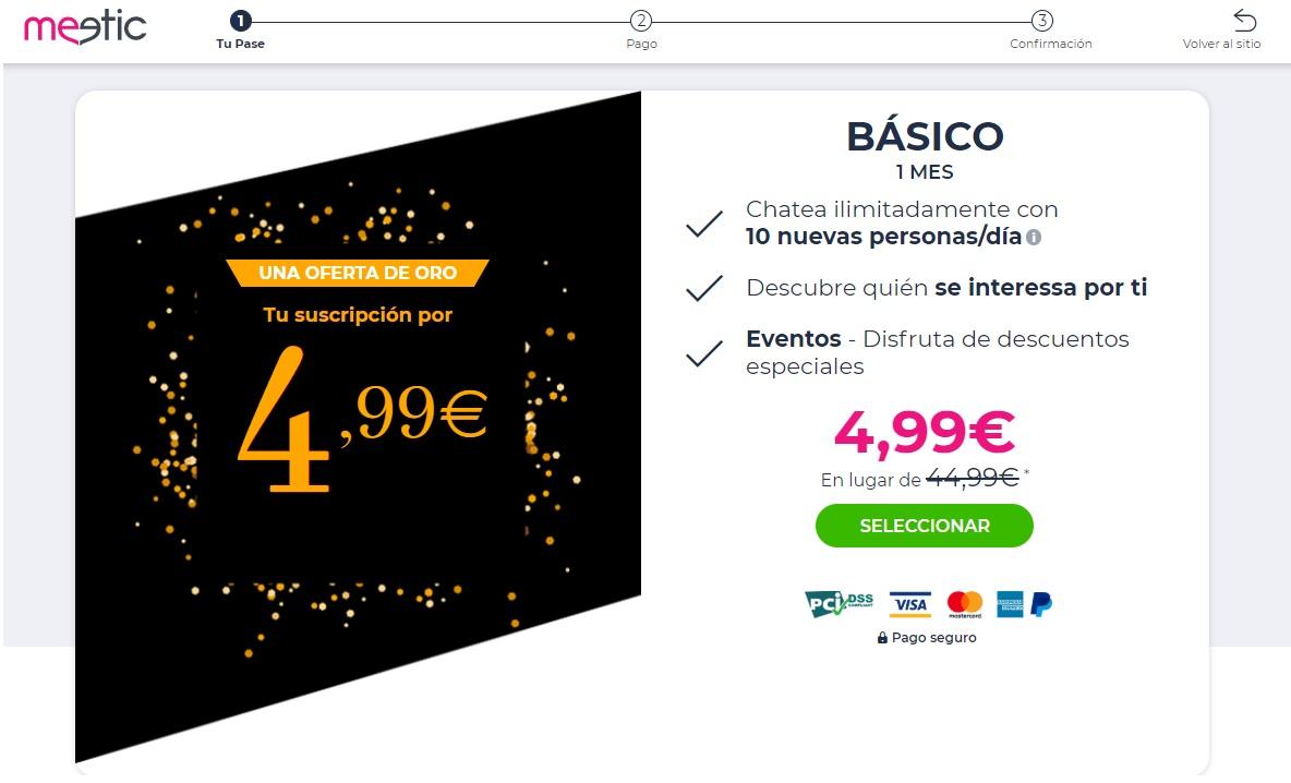 1 mes de Meetic por 4,99 €