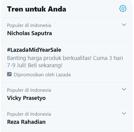 Nicholas Saputra trending di Twitter.