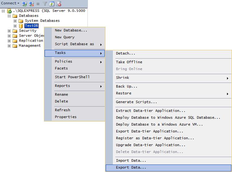 Select Database / Context Menu / Tasks / Export Data...