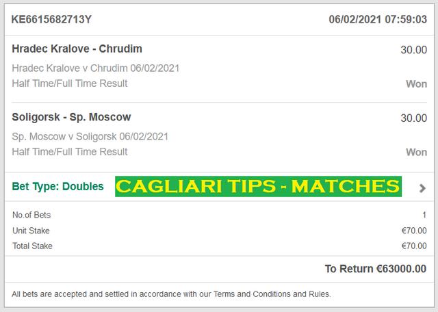Cagliari HT/FT | Fixed Matches