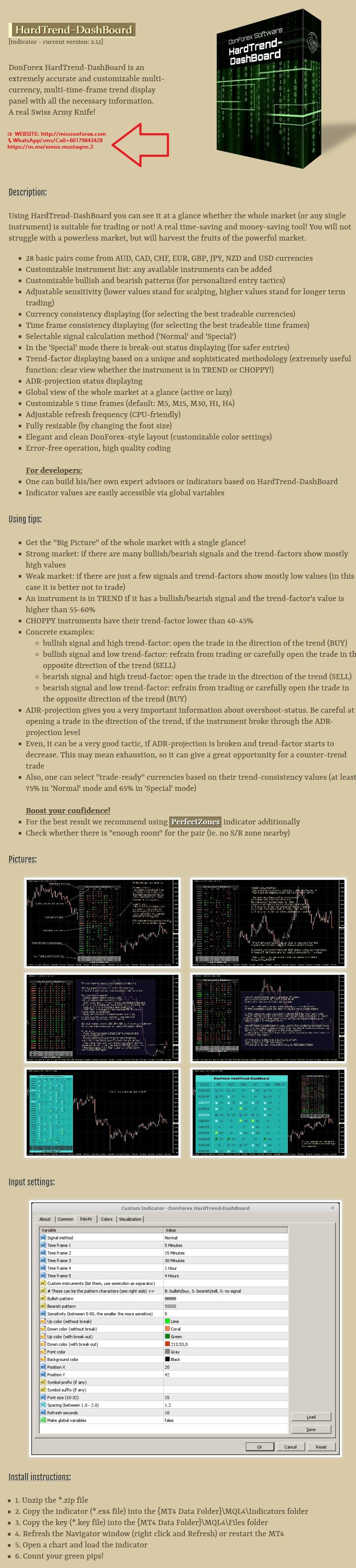 DonForex HardTrend-DashBoard working (Enjoy Free BONUS CTI Trading Indicator)