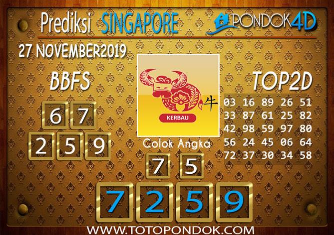 Prediksi Togel SINGAPORE PONDOK4D 27 NOVEMBER 2019
