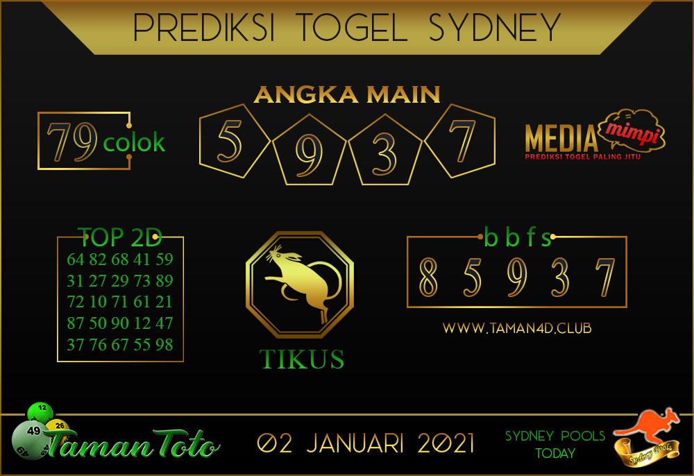 Prediksi Togel SYDNEY TAMAN TOTO 02 JANUARI 2021