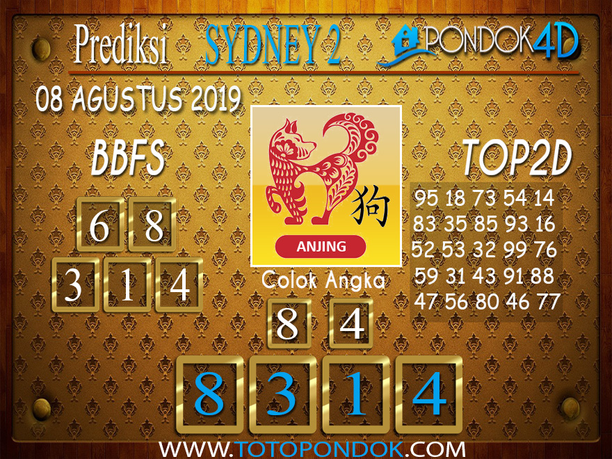Prediksi Togel SYDNEY 2 PONDOK4D 08 AGUSTUS 2019