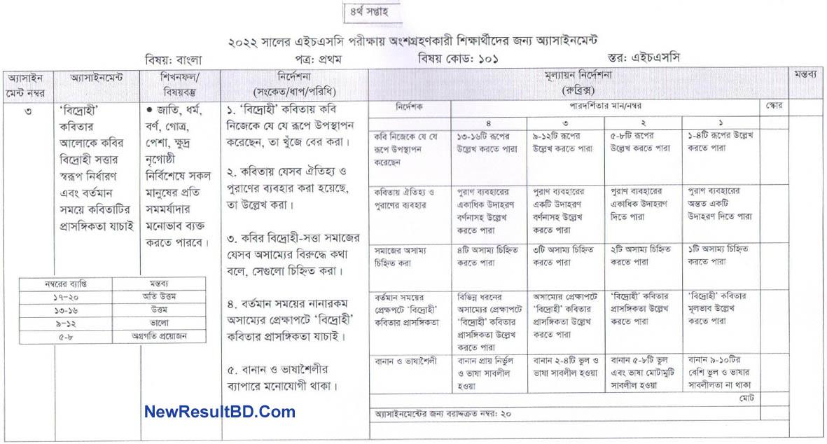 Bangla 4th Week HSC Assignment