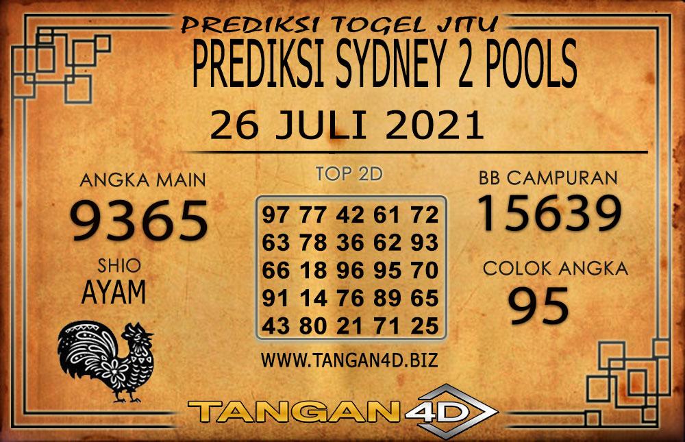 PREDIKSI TOGEL SYDNEY2 TANGAN4D 26 JULI 2021