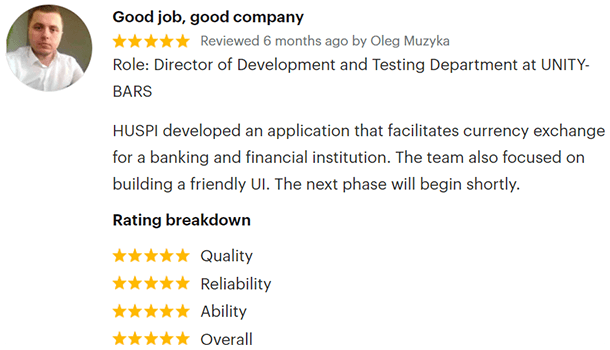 Review of HUSPI by FinTech Project on GoodFirms