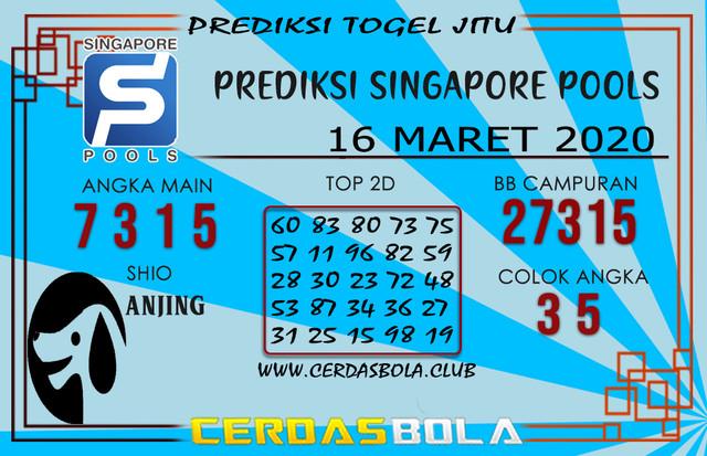 Prediksi Togel SINGAPORE CERDASBOLA 16 MARET 2020
