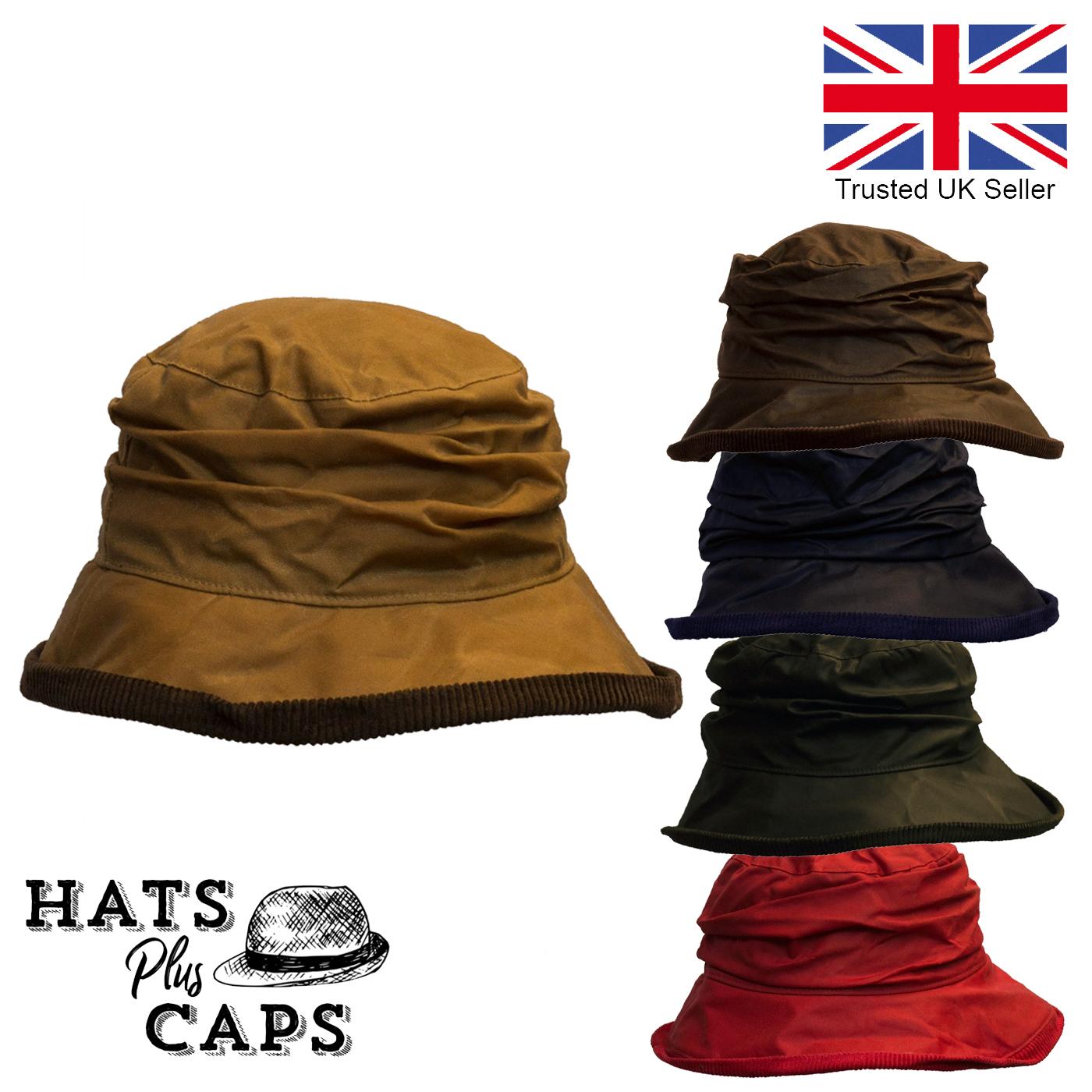 Hat Ladies Cloche Wax Cotton Waterproof TARTAN Weatherproof Brim Hawkins