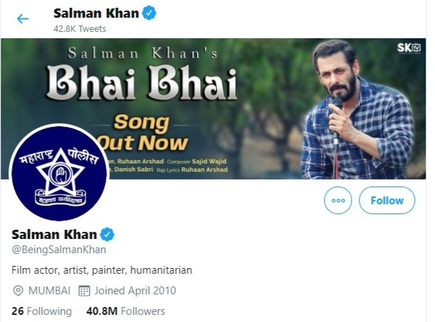Salman Khan changes his dp to Mumbai police
