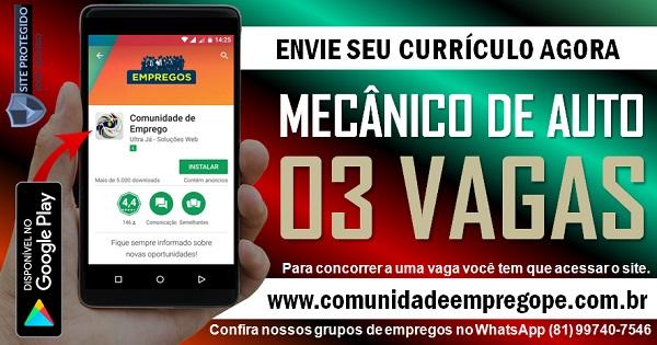 MECÂNICO DE AUTO, 03 VAGAS PARA OFICINA MECÂNICA EM RECIFE E OLINDA