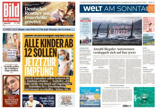 Cover: Bild und Welt am Sonntag No 31 vom 01  August 2021
