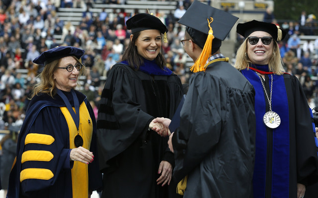 Actress-and-Toledo-native-Katie-Holmes-greets-students-during-spring-commencement-at-the-University-