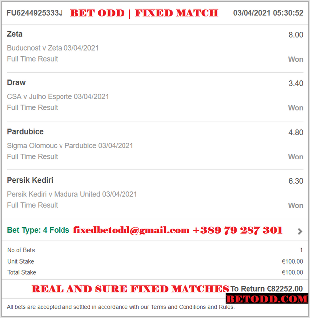 BET ODD FOUR VIP TICKET FIXED MATCHES