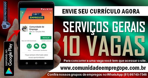 SERVIÇOS GERAIS, 10 VAGAS PARA EMPRESA DE TRANSPORTE NO RECIFE