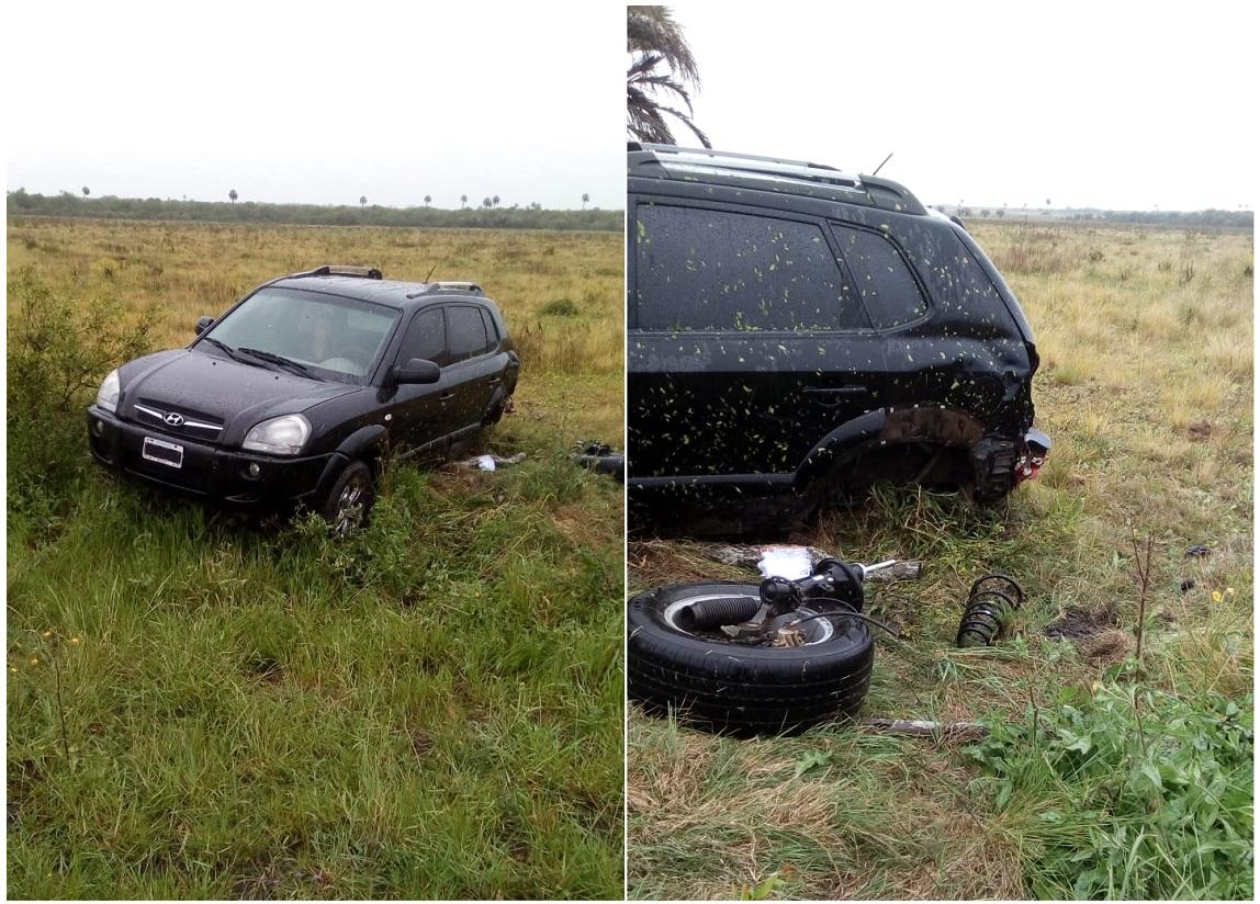 POLICÌA DE VILLAGUAY: Ruta Nº 18 Km 102, zona Raìces Oeste:  conductor perdiò el control del vehìculo debido a la intensa lluvia