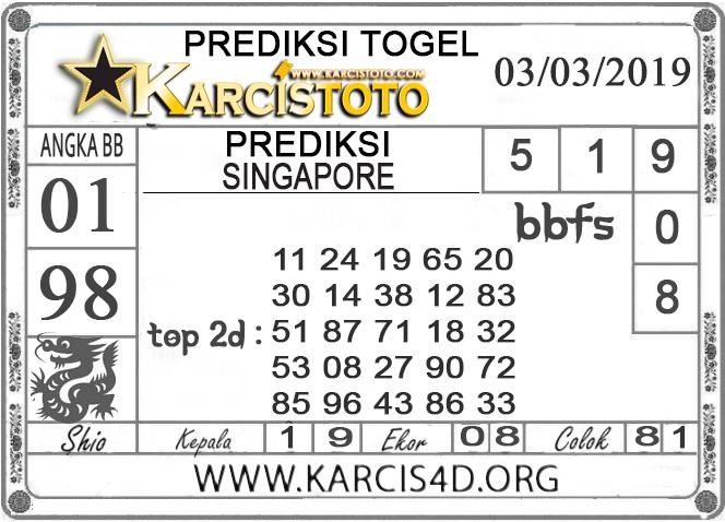 Prediksi Togel SINGAPORE KARCISTOTO 04 MARET 2019