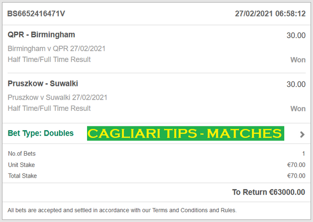 CAGLIARI DOUBLE HT / FT FIXED MATCHES
