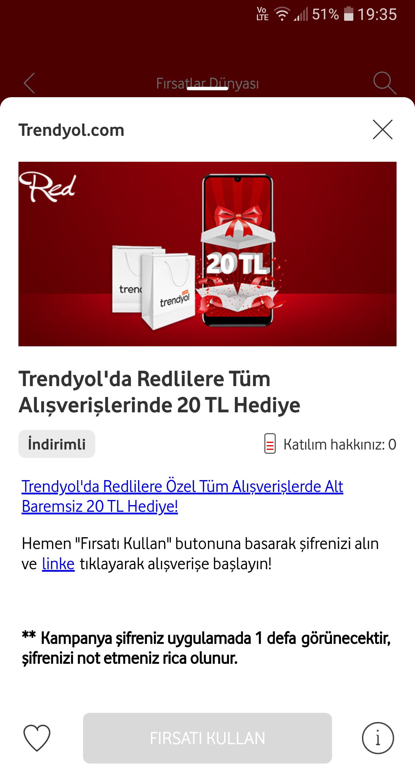 Trendyol Vodafone ve Red'lilere 20₺ İndirim Kodu - Altlimitsiz