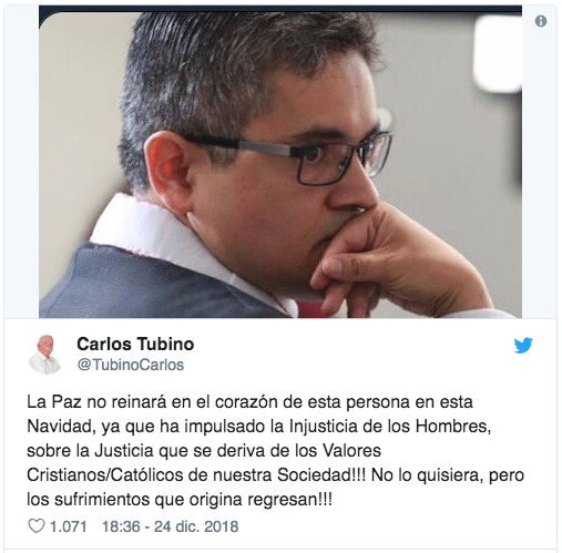 Fiscal Pérez Gómez pide protección tras tuit de congresista Tubino