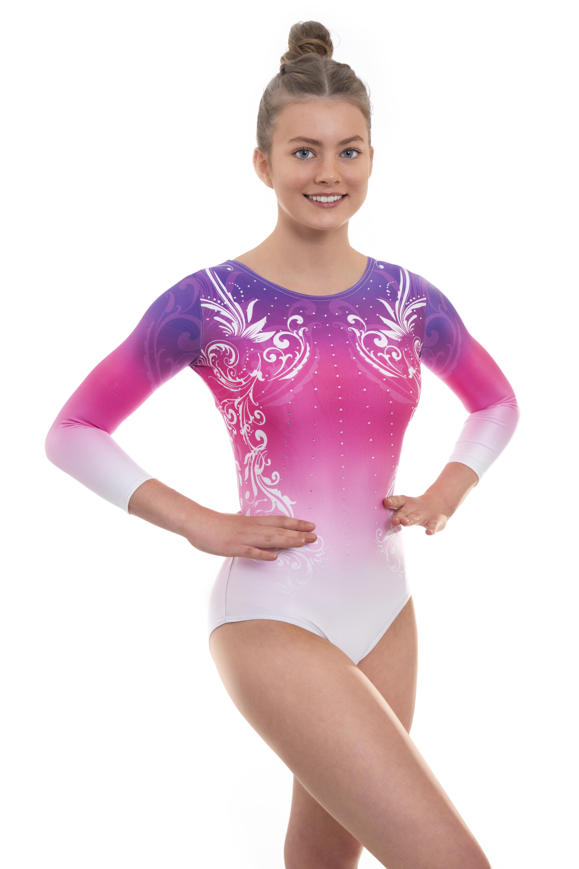 Girls Gymnastics Long Sleeves Leotards Ballet Full Body Suit Jumpsuit Dancewear