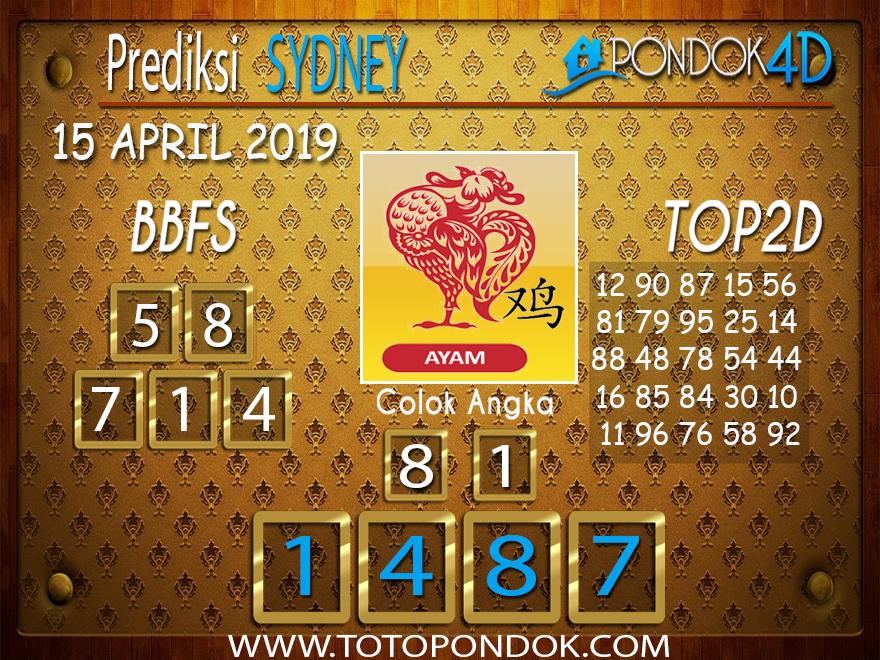 Prediksi Togel SYDNEY PONDOK4D 15 APRIL 2019