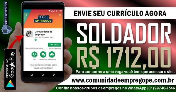 SOLDADOR COM SALÁRIO R$ 1712,00 PARA OFICINA MECÂNICA EM OLINDA