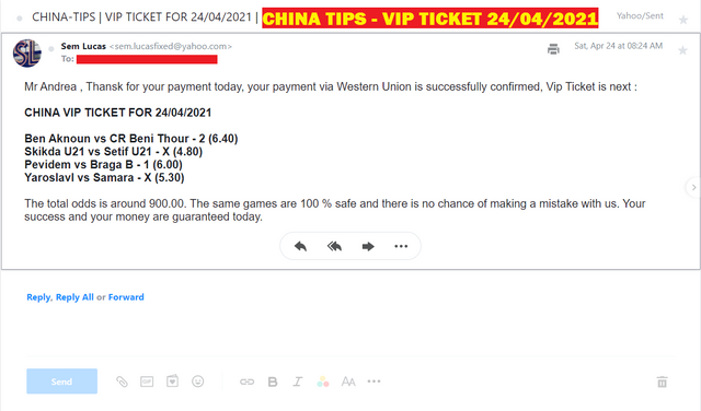 CHINA VIP TICKET FOR 24/04/2021   FOUR FIXED COMBINED MATCHES