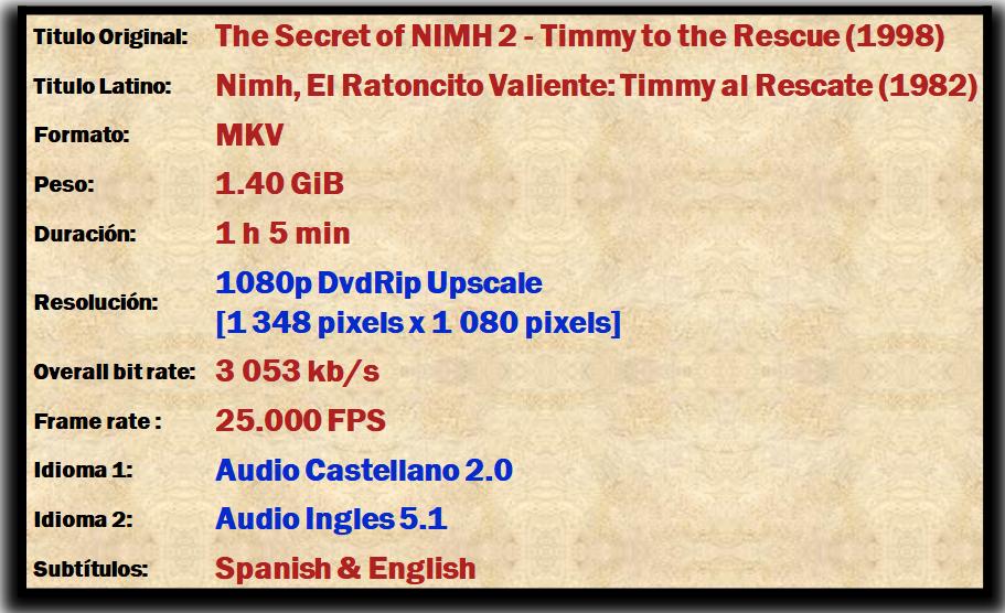 The Secret of Nihm 1 & 2 (1982-98) [1080p] [Dual] [ZP]
