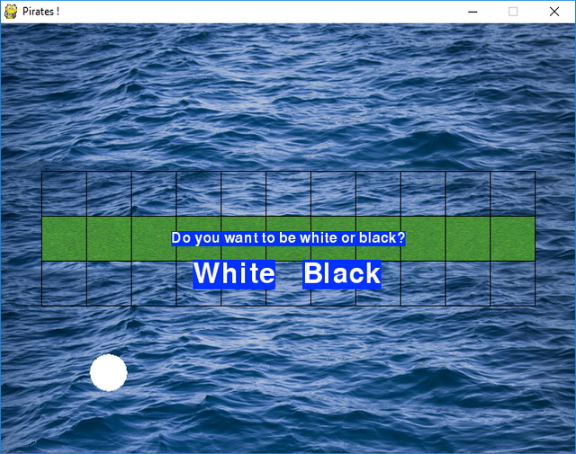 La bola blanca, que debía estar en el medio, está en la parte inferior izquierda.