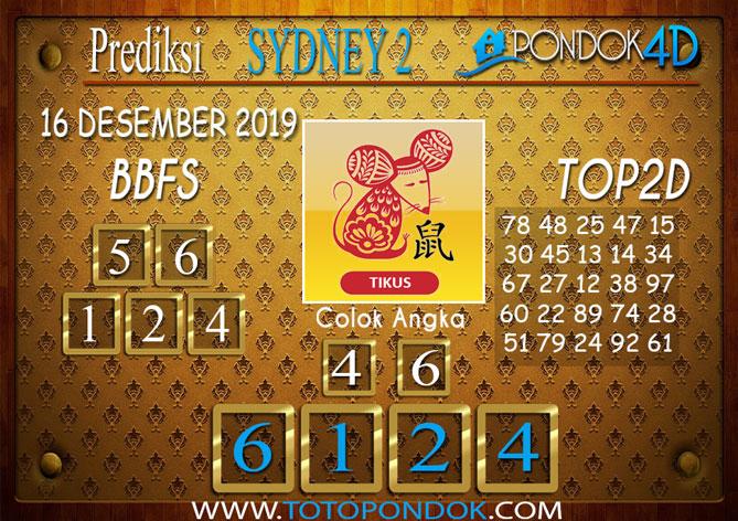 Prediksi Togel SYDNEY 2 PONDOK4D 16 DESEMBER 2019