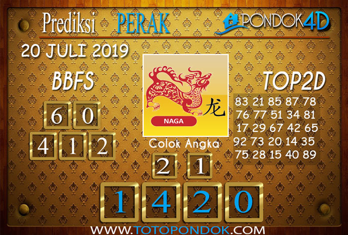 Prediksi Togel PERAK POOLS PONDOK4D 20 JULI 2019