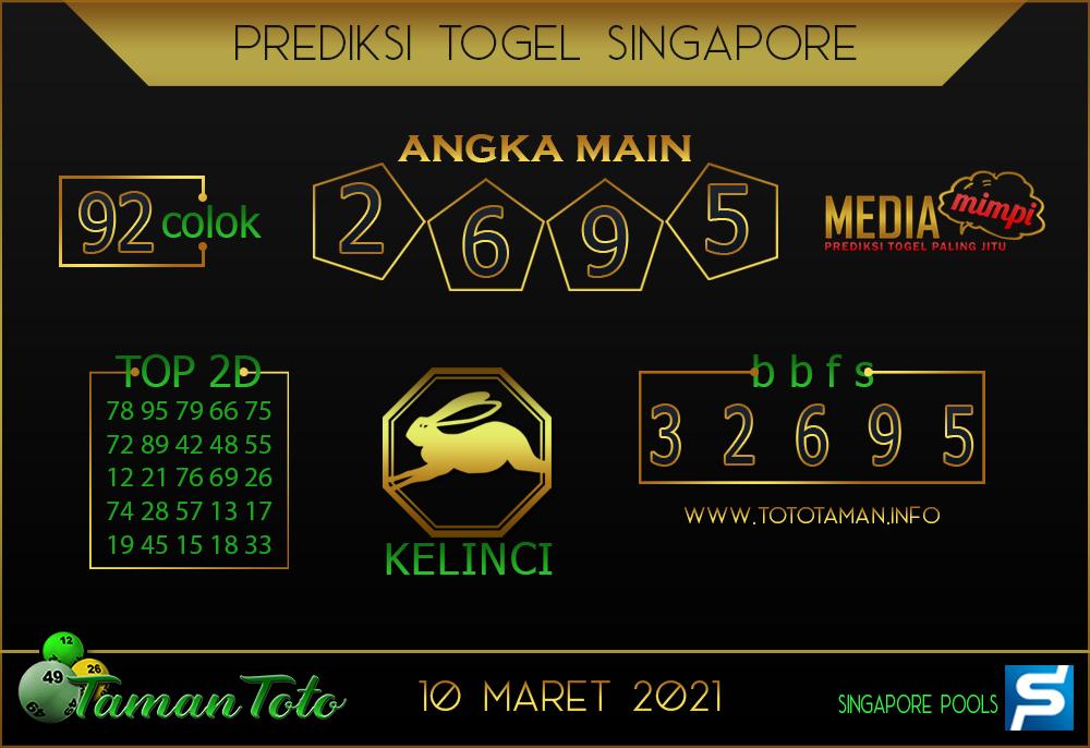 Prediksi Togel SINGAPORE TAMAN TOTO 10 MARET 2021