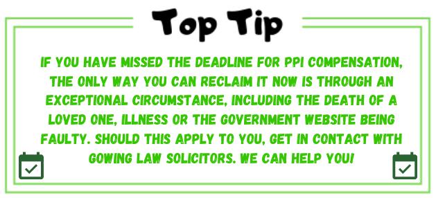 PPI compensation deadline top tip