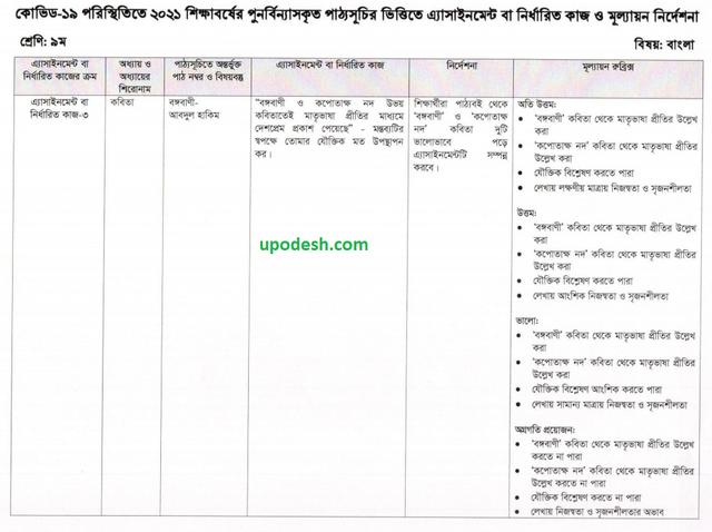 Class 9 Bangla 8th Week Assignment 2021