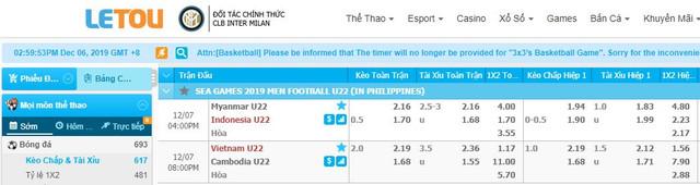 KÈO THƠM LETOU: SEA Games   U22 Việt Nam vs U22 Campuchia  19h00, 07/12 LETOU-1