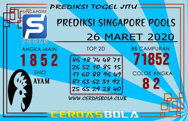 Prediksi Togel SINGAPORE CERDASBOLA 26 MARET 2020
