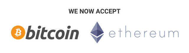 Now accepting Bitcoin and Ethereum