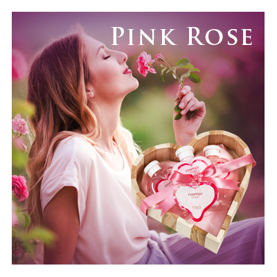 Bath Body and Spa Gift Sets and Liquid Hand Soap in Relaxing Pink Rose Fragrance