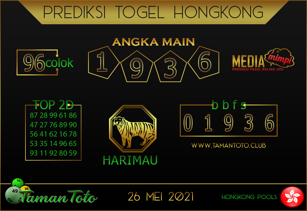 Prediksi Togel HONGKONG TAMAN TOTO 26 MEI 2021