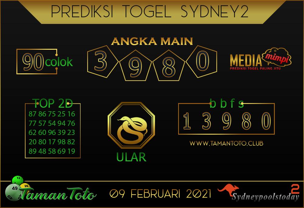 Prediksi Togel SYDNEY 2 TAMAN TOTO 09 FEBRUARI 2021