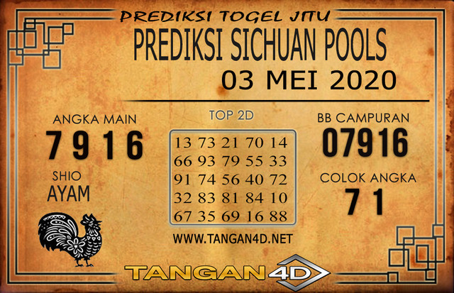 PREDIKSI TOGEL SICHUAN TANGAN4D 03 MEI 2020