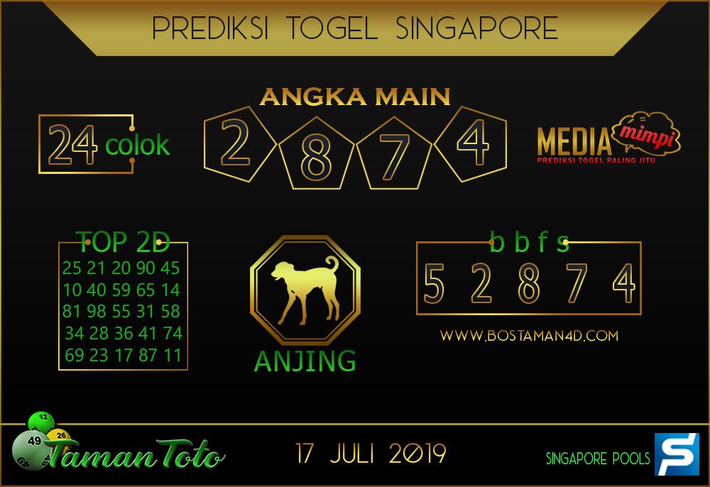 Prediksi Togel SINGAPORE TAMAN TOTO 17 JULI 2019
