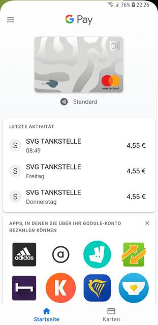 Google Pay mit DiPocket
