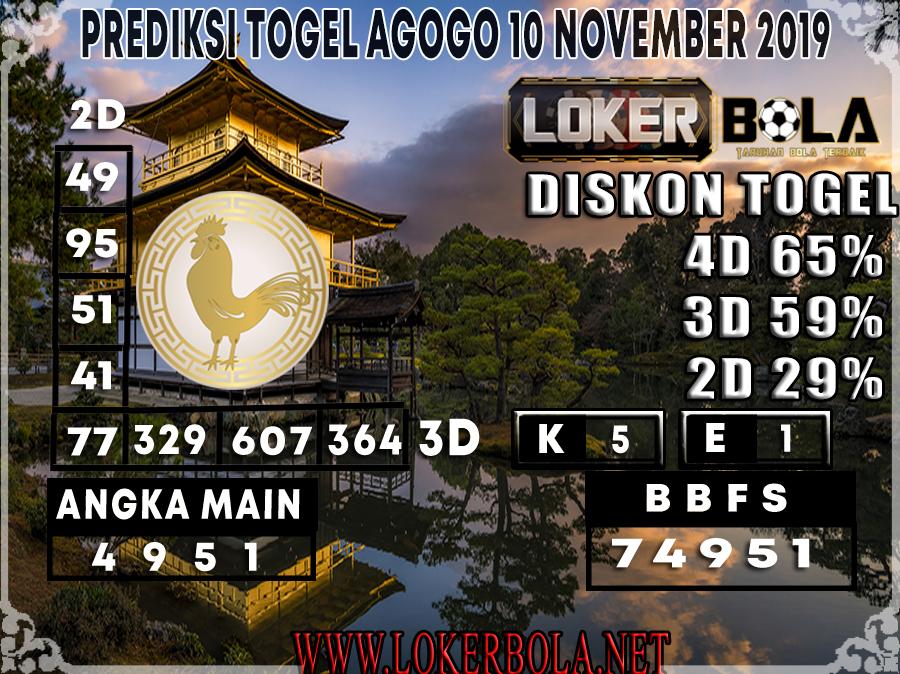 PREDIKSI TOGEL AGOGO LOKERBOLA 10 NOVEMBER 2019