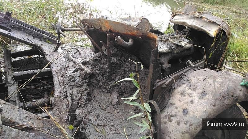 German truck Borgward during the World War II found at the bottom of the lake