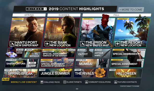 HITMAN 2 Reveals Its Content Schedule For The Spring, Summer, And Fall