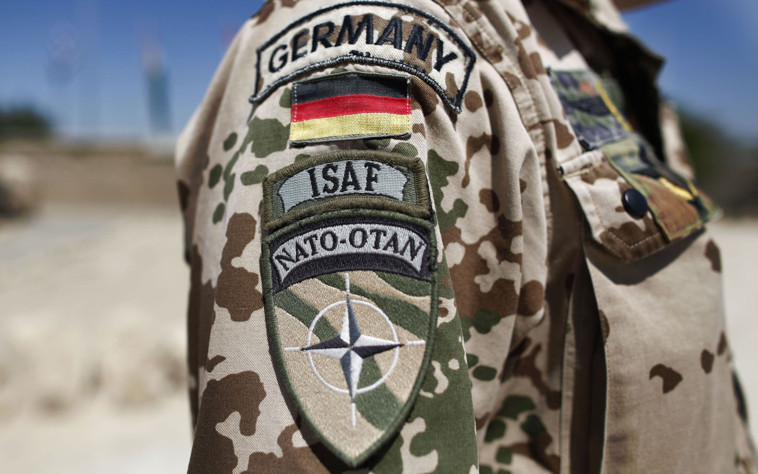 Badges-of-Germany-ISAF-International-Security-Assistance-Force-and-NATO-are-seen-on-the-sleeve-of-th