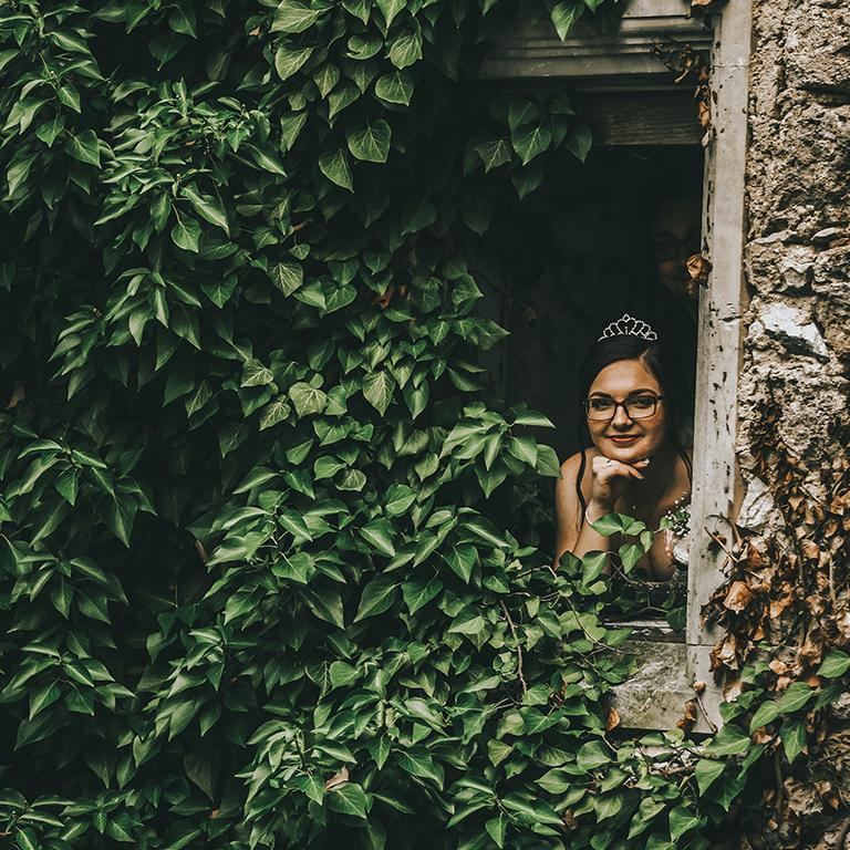 Edina at window